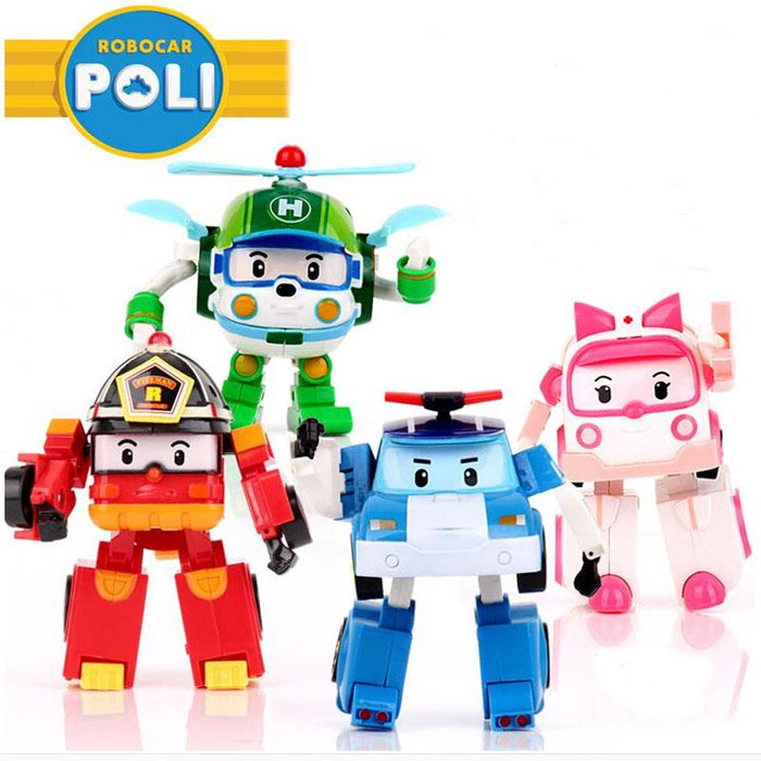 4Pcs/Set Robocar Poli Korea Kids Toys Robot Transformation Anime Action Figure Toys For Children-Learning & Education-Aocoren My Store-EpicWorldStore.com