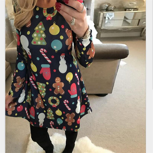 4Xl 5Xl Big Size Casual Print Cartoon Christmas Tree Cute Loose Dress Autumn Winter A-Line Dresses-Dresses-Evan Co. Ltd-0212-S-EpicWorldStore.com
