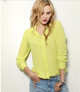5 Colors Work Wear Women Shirt Chiffon Blusas Femininas Tops Elegant Ladies Formal Office-Blouses & Shirts-Top-Shopping-Yellow-S-EpicWorldStore.com