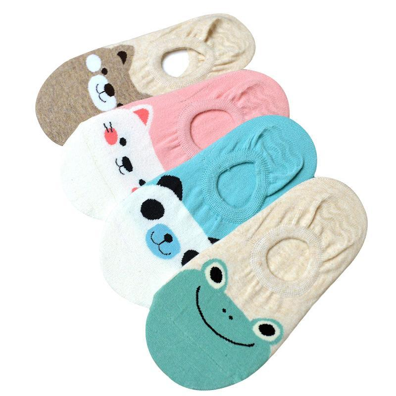 1e0ec87f61 5 Pairs/Lot Women Socks Candy Color Small Animal Cartoon Pattern Boat Sock  Suit For Summer