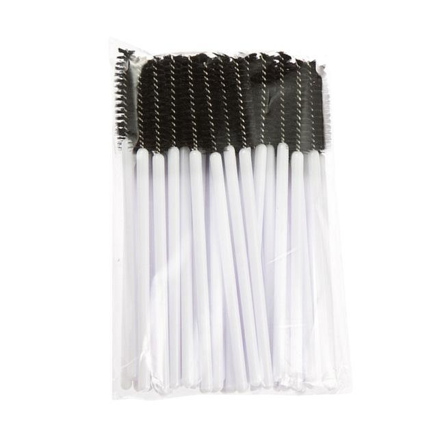 50Pcs/Pack Disposable Micro Eyelash Brushes Mascara Wands Applicator Wand Brushes Eyelash Comb-Makeup-topnewfrog-white black-EpicWorldStore.com