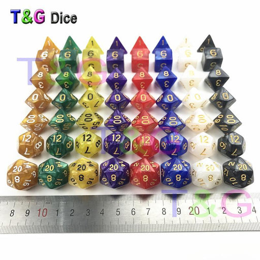56Pcs/Bag D&D Dice Sets With Pearlized Effect D4 D6 D8 D10 D10% D12 D20 Rpg Game Dice With Bag Board-Entertainment-TnG Factory direct Store-Red-EpicWorldStore.com