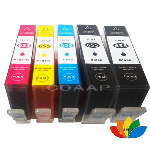 5Pcs Compatible Hp 655 Hp655 C M Y Bk Ink Cartridge With Chip For Hp Deskjet 3525 4615 4625 5525-Office Electronics-Printing supplies shop-EpicWorldStore.com