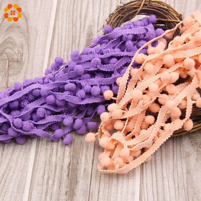 5Yards/Lot Hot Sale 10Mm Pom Pom Trim Ball Fringe Ribbon Diy Sewing Accessory Lace 17 Colors For-Arts,Crafts & Sewing-DIY House Factory Direct Online Store-Black-EpicWorldStore.com