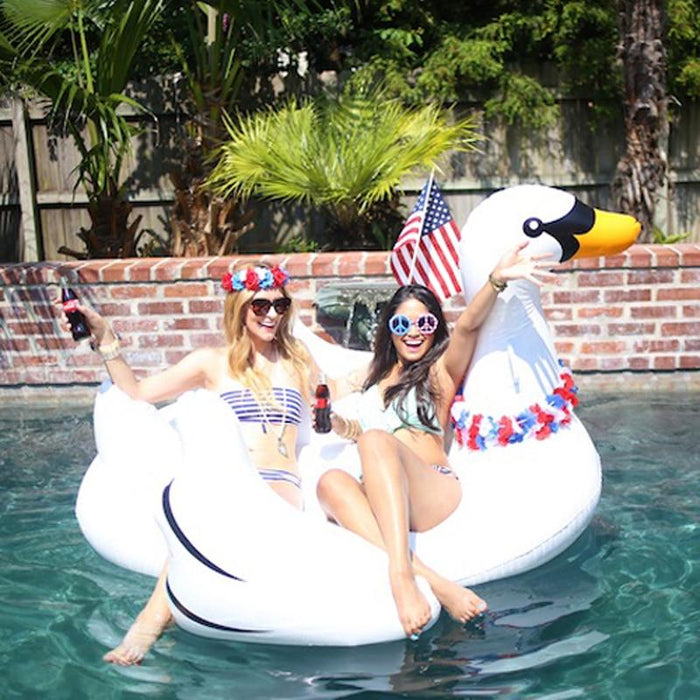 60 Inch 1.5M Giant Inflatable Swan Pool Float Ride On Swan Pool Swimming Ring Holiday Party Water-Swimming Rings-YHSBUY PE Store-kids-EpicWorldStore.com