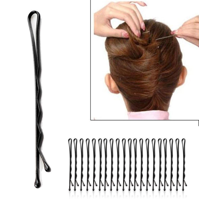 60Pcs/Set Women Lady Girl Black Metal Waved Hair Bobby Clip Salon Pin Grip Hairpin Barrette Hair-Accessories-Tansy Store-wave-EpicWorldStore.com
