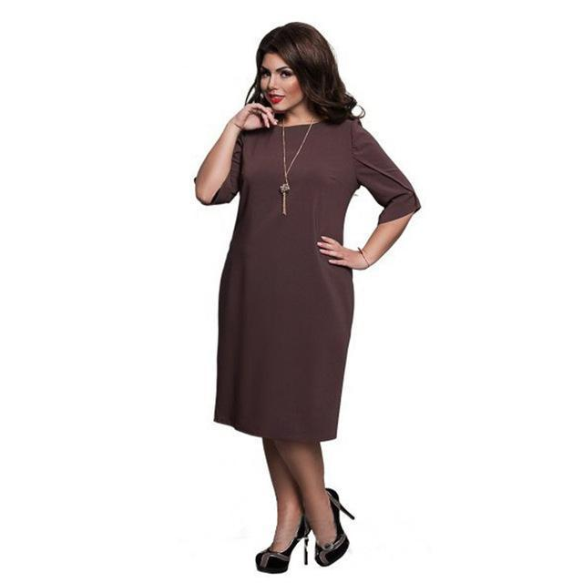 6Xl Large Size Summer Dress Big Size Casual Office Dress Blue Red Green Straight Dresses Plus-Dresses-Eternal Stars Trading Ltd store-brown-L-EpicWorldStore.com