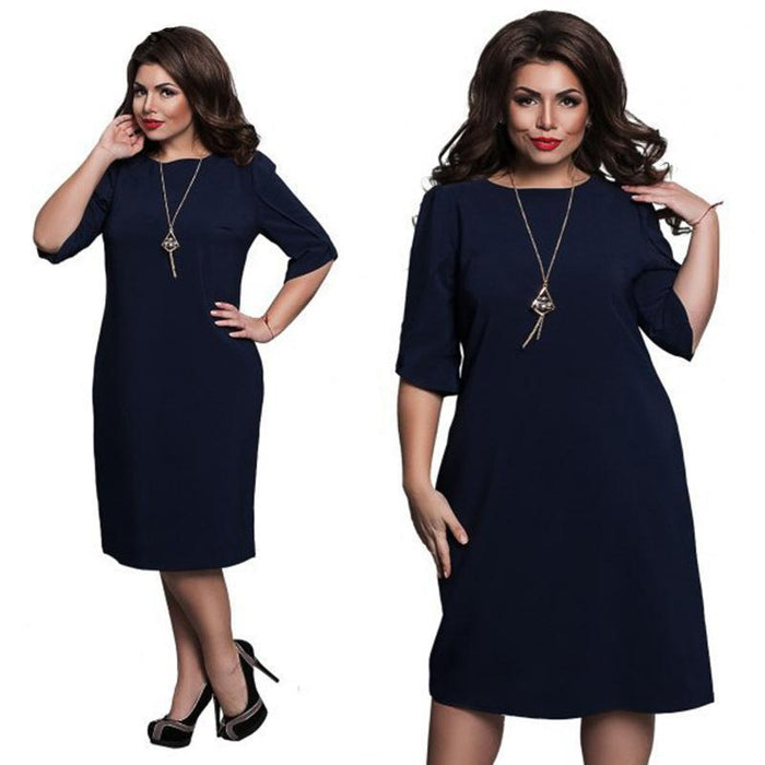 6Xl Large Size Summer Dress Big Size Casual Office Dress Blue Red Green Straight Dresses Plus-Dresses-Eternal Stars Trading Ltd store-dark blue-L-EpicWorldStore.com