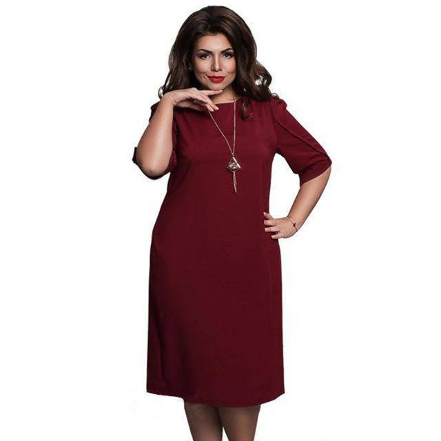 6Xl Large Size Summer Dress Big Size Casual Office Dress Blue Red Green Straight Dresses Plus-Dresses-Eternal Stars Trading Ltd store-wine red-L-EpicWorldStore.com