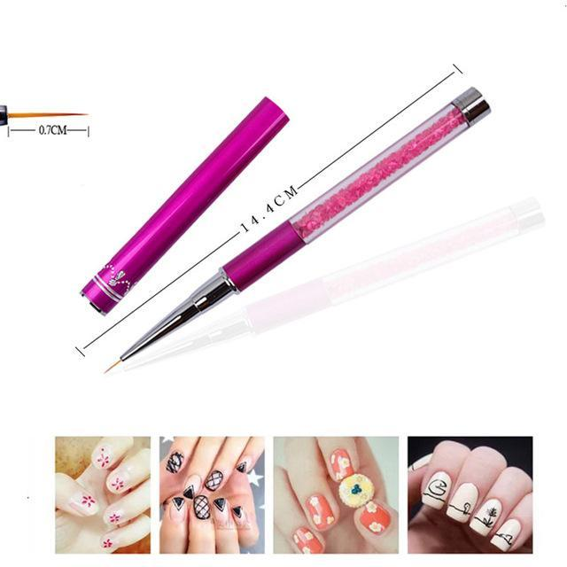 7911mm Nail Art Brush Painting Flower Drawing Line Pen Crystal