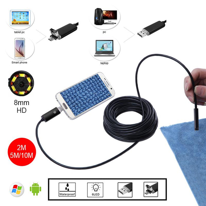 Video Surveillance Official Website Endoscope 2 In1 Usb 2m 5m 10m Android Endoscope Camera Inspection Android Borescope 8mm Lens 6 Led Lights Pc Usb Endoskop Camera