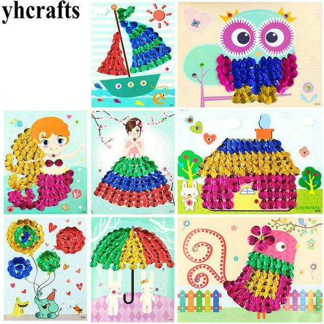 8pcs Lot Diy 3d Shells Cards Craft Kit Sequins Arts Kindergarten