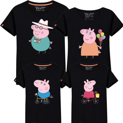 95% Cotton&5% Silk Family Look Summer Family Clothing Mother Daughter T Shirt Family Matching-Family Matching Outfits-F&Yuang Baby Store-Black-Mom Size S-EpicWorldStore.com