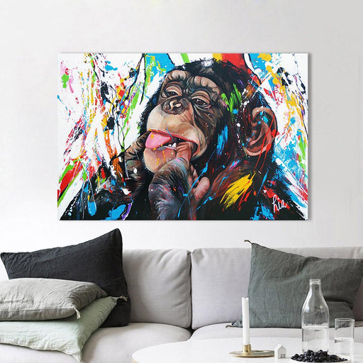Aavv Wall Art Canvas Painting Chimp Animal Picture Prints Home Decor No Frame-Painting & Calligraphy-YW ART Store-8X12-EpicWorldStore.com