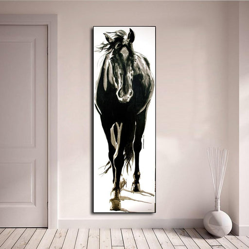 Aavv Wall Art Canvas Picture Animal Painting Black And White Horse For Living Room Home Decor No-Painting & Calligraphy-YW ART Store-16x48-EpicWorldStore.com