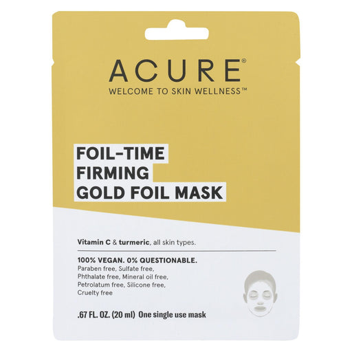 Acure - Mask - Foil - Time Firming Gold Foil Mask - Case Of 12 - 0.67 Fl Oz.-Eco-Friendly Home & Grocery-Acure-EpicWorldStore.com