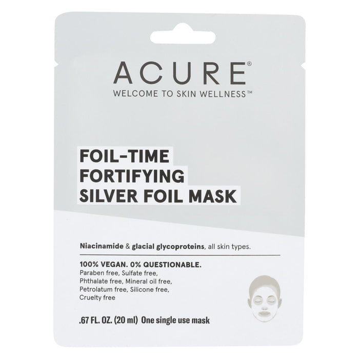 Acure - Mask - Foil - Time Fortifying Silver Foil Mask - Case Of 12 - 0.67 Fl Oz.-Eco-Friendly Home & Grocery-Acure-EpicWorldStore.com