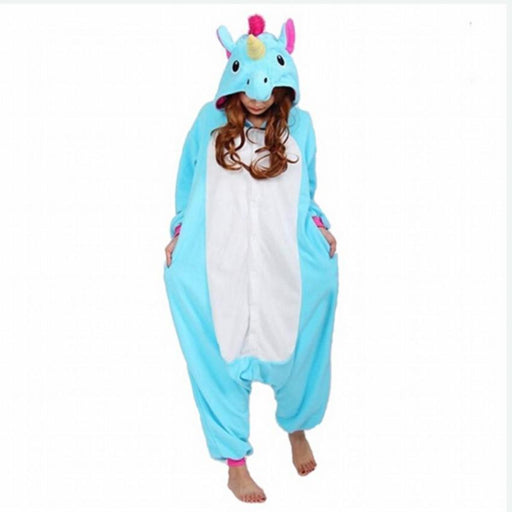 Adult Men Women Pajama Set Cartoon Pajamas Animal Halloween Hooded Coral Fleece Sleepwear Unicorn-Sleep & Lounge-Golden Reed Cos Store-Blue Stitch-S-EpicWorldStore.com