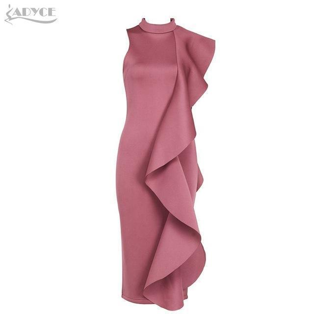 Adyce New Style Winter Dress Women Stylish White Sleeveless Patchwork Ruffles Bodycon Vestidos-Dresses-ADYCE Official Store-Deep Pink as photo-S-EpicWorldStore.com