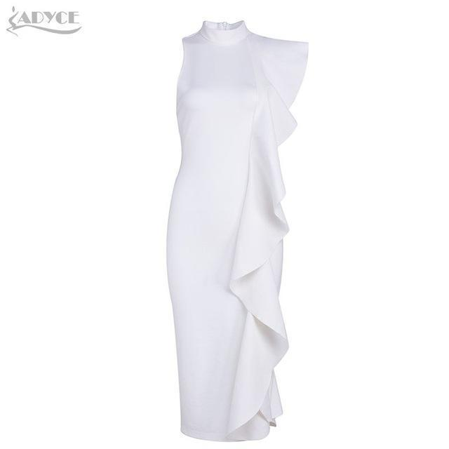 Adyce New Style Winter Dress Women Stylish White Sleeveless Patchwork Ruffles Bodycon Vestidos-Dresses-ADYCE Official Store-White-S-EpicWorldStore.com