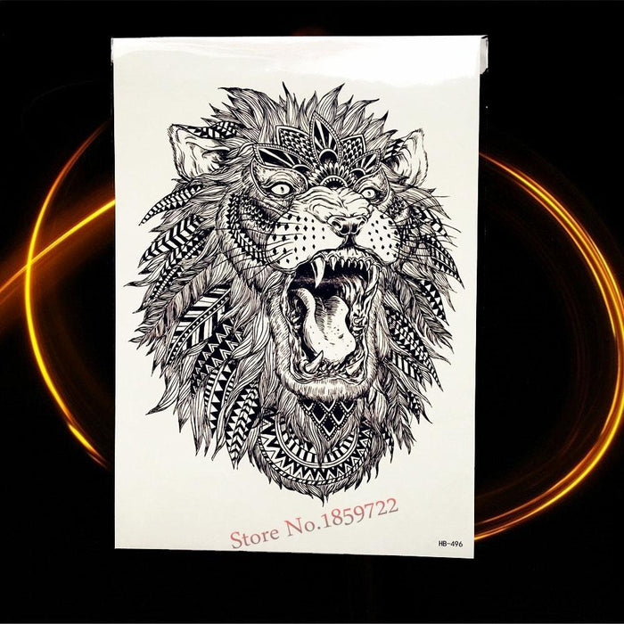 Africa Serengeti Lion Temporary Tattoo Indian Tribal Mighty Lion Warrior Waterproof Flash Tattoo-Tattoo & Body Art-GoldOcean Factory Store-HHB810-EpicWorldStore.com