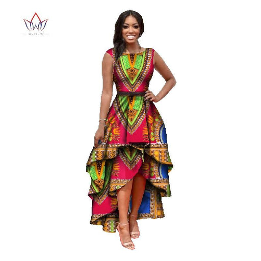African Clothes For Women O-Neck African Dashiki Dresses Cotton Dress Sleeveless African Print Dress-Dresses-African Custom Clothing-1-M-EpicWorldStore.com