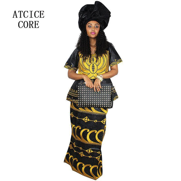 7acc40ad07f African Dresses For Women New Design African Bazin Riche Embroidery Short  Rapper With Scarf-Traditional