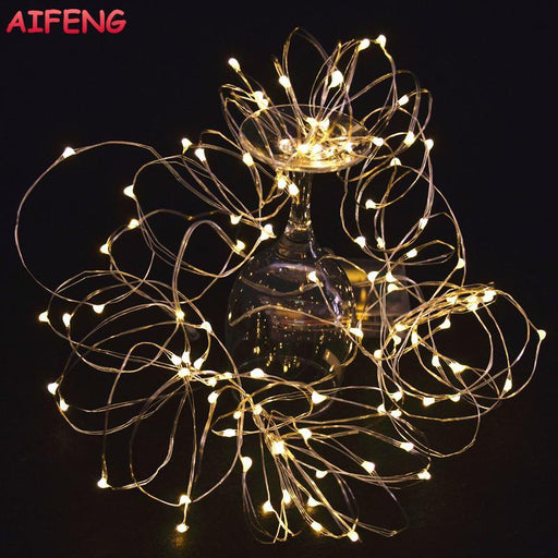 Aifeng Fairy Lights Aa Battery Powered 2M 20 3M 30 5M 50 10M 100Leds Silver Led Copper Wire String-Holiday Lighting-Shop2926096 Store-Colorful-2M 20Leds-EpicWorldStore.com