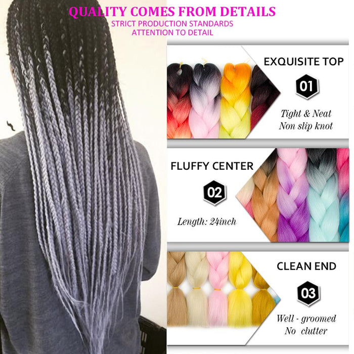 Hair Braids Aigemei Ombre Kanekalon Braiding Hair Extensions 24inch 100g Synthetic Crochet Jumbo Braids Hairstyles