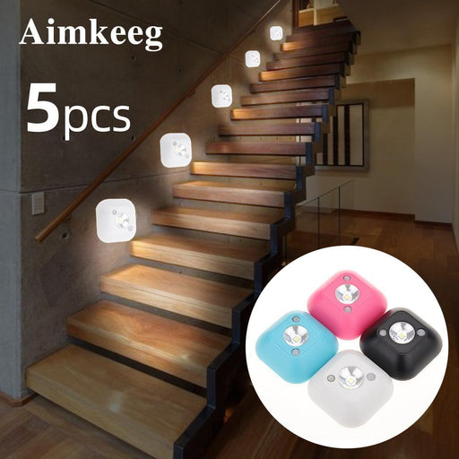 Aimkeeg Led Sensor Night Light Pir Infrared Motion Activated Sensor Lamp Battery Powered Wall Lamp-LED Night Lights-Aimkeeg Official Store-5PCS-White-EpicWorldStore.com