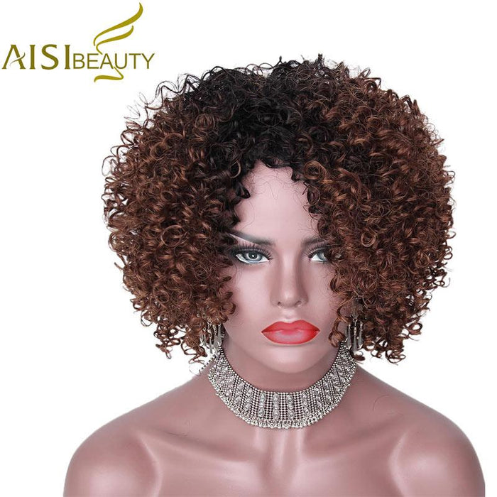 Aisi Beauty 14Inches Long Afro Kinky Curly Wig For Black Women Dark Brown  Synthetic Wigs African 00aafcfb4
