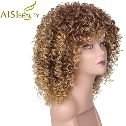 Aisi Beauty 16 Inches Synthetic Long Afro Kinky Curly Wigs For Women Blonde Mixed Brown Hair-AISI BEAUTY Official Store-EpicWorldStore.com