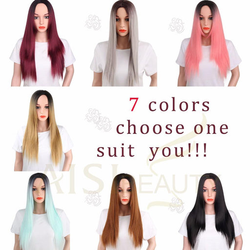 Aisi Beauty Grey Red Pink Ombre Black Wig Synthetic Wigs For Women Long Straight False Hair-AISI BEAUTY Official Store-Ombre-EpicWorldStore.com