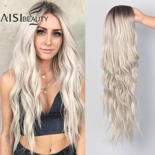 Aisi Beauty Long Womens Wigs Ombre Platinum Blonde Wigs Heat Resistant Part Side Synthetic Wavy Wigs-Home-Kaixihair Store-YST556-bj-26inches-EpicWorldStore.com