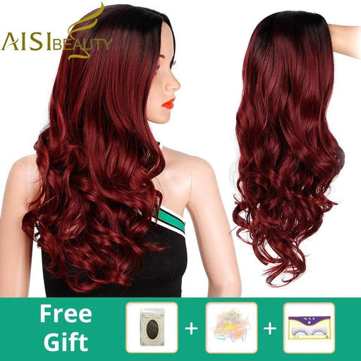 Aisi Beauty Ombre Long Wavy Red Wigs Blonde Cosplay Synthetic Wigs Female Daily Party Heat Resistant-Home-AISI BEAUTY Official Store-R2-118-39A-24inches-EpicWorldStore.com