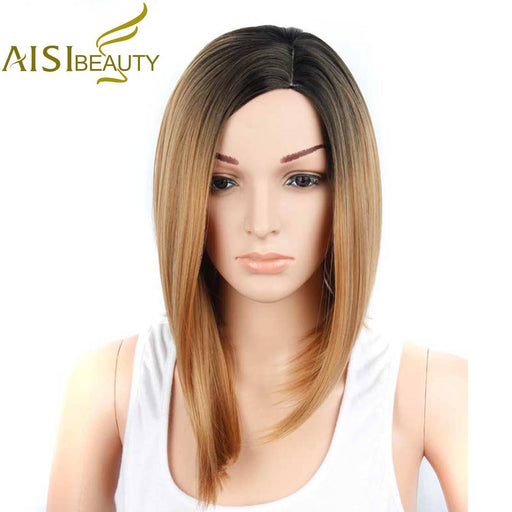 Aisi Beauty Synthetic Short Wigs For Black Women Omble Straight Blonde Wig African American Hair-Alileader Hair Product-Ombre-EpicWorldStore.com
