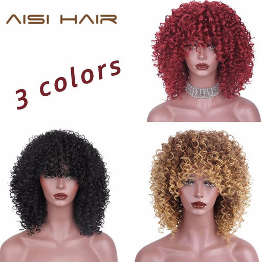 Aisi Hair Red Black Afro Kinky Curly Wigs For Women Black And Blonde Mixed Brown Synthetic Wigs-AISI HAIR AISI Store-Jet-black-EpicWorldStore.com