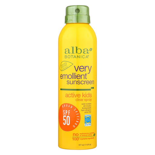 Alba Botanica Sunscreen - Very Emollient - Clear Spray Spf 50 - Active Kids - 6 Oz-Eco-Friendly Home & Grocery-Alba Botanica-EpicWorldStore.com