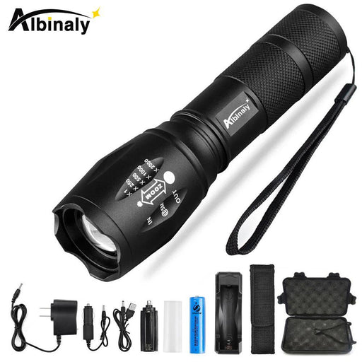 Albinaly Ultra Bright Cree Xml-T6/L2 Led Flashlight 5 Modes 8000 Lumens Zoomable Led Torch 18650-Outdoor Lighting-Albinaly XML-T6/L2 Flashlight Store-A-CEER-T6-4000LM-EpicWorldStore.com