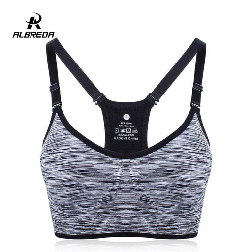 b21a9009140b2 Albreda Women Fitness Yoga Sports Bra For Running Gym Straps Padded Top  Athletic Vest Quick Dry