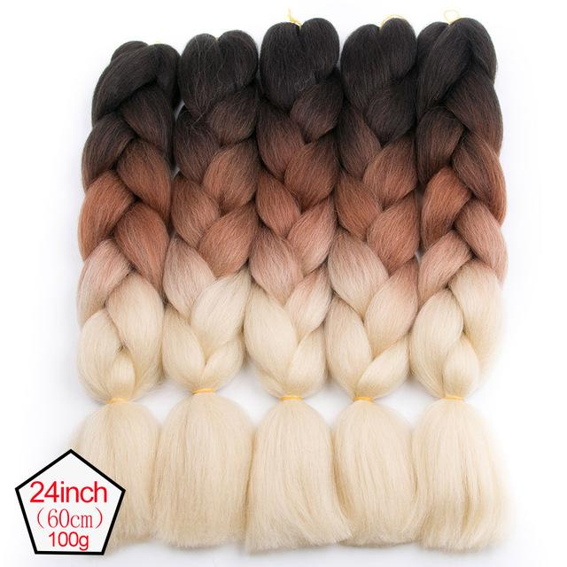 Mokogoddess Ombre Kanekalon Hair Two Tone Three Tone 24 Inch Synthetic Hair Extensions 100g/pack 90 Colors To Choose We Take Customers As Our Gods Jumbo Braids