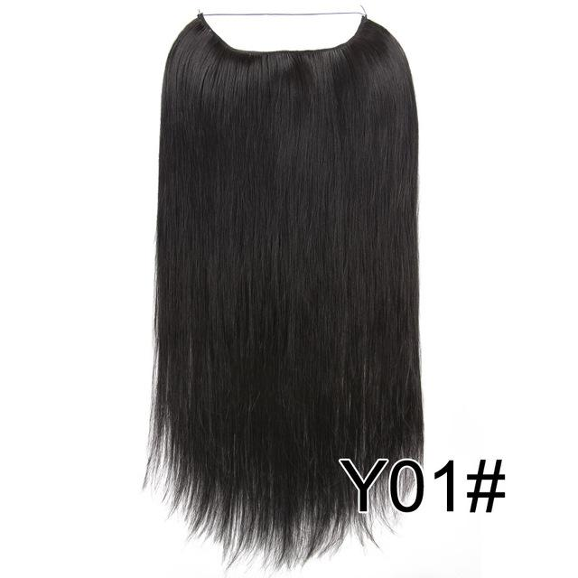 Alileader 22 Inches Clip On Wire Fish Line Hair Extensions Secret Invisible Wire One Piece For Ombre