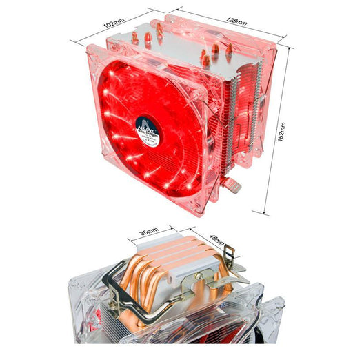 Alseye Eddy-120R Cpu Cooler 4 Heatpipes Tdp 220W Dual Pwm 4Pin 120Mm Led Fan Radiator Cooler For Lga-Computer Components-ALSEYE Official Store-Red-EpicWorldStore.com