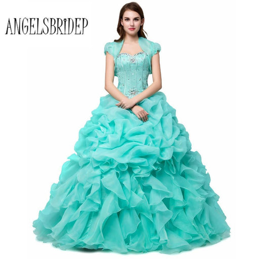 b6661013c47 Angelsbridep Ball Gown With Jacket Sweetheart Crystal Pink   Yellow Organza  Princess Quinceanera-Quinceanera Dresses