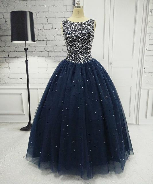 2e25197f4091d Angelsbridep Navy Blue Quinceanera Dresses For 15 Years Backless Beaded  Tulle Ball Gown Vestidos-Quinceanera
