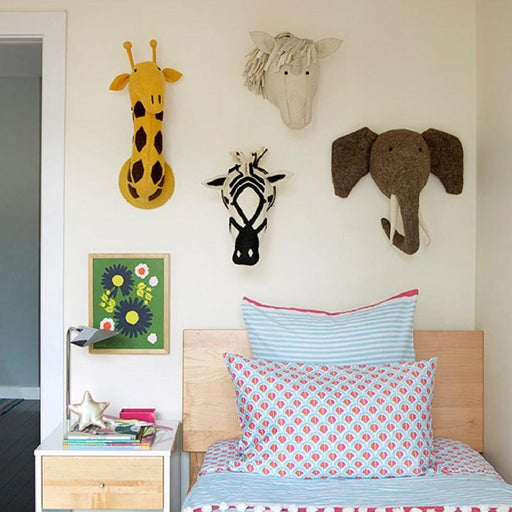 Animal Elephant Deer Zebra Rabbit Tiger Head Wall Mount Stuffed Toys Bedroom Decor Felt Artwork Wall-Stuffed Animals & Plush-RAKT Electronics Co., Ltd-Elephant-EpicWorldStore.com