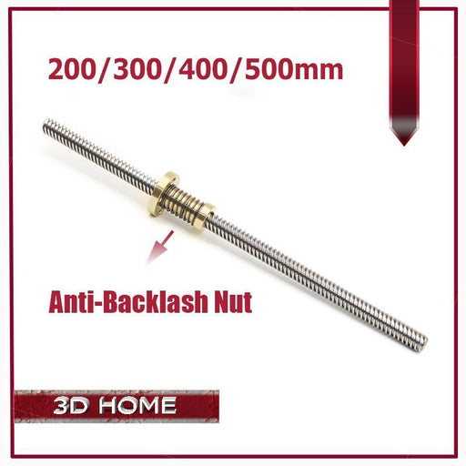 Anti-Backlash Nut + 200Mm 300Mm 400Mm 500Mm T-Type Stepper Motor Trapezoidal Lead Screw 8Mm Thread-Office Electronics-3D_HOME-300mm-EpicWorldStore.com