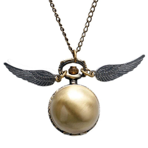 Antique Golden Wizard Magic Quartz Pocket Watch Harry Fob Clock Wings Necklace Men Women Gift-Pocket & Fob Watches-Eon Timepieces Store-1-EpicWorldStore.com