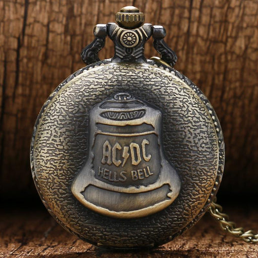 Antique Steampunk Acdc Hells Bell Quartz Pocket Watch Necklace Pendant Retro Men Women Xmas Gift-Pocket & Fob Watches-Timing Store-EpicWorldStore.com