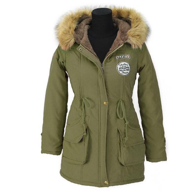 Aonibeier Winter Women Jacket Artificial Fur Collar Hooded Coat Warm Jacket Female Outerwear-Jackets & Coats-aonibeier Official Store-Army Green-S-EpicWorldStore.com